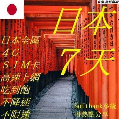 日本 7天/7日 wifi 全區 免開通 4G (附卡針) SIM 網卡 上網 不降速 吃到飽  插卡即用 不限速