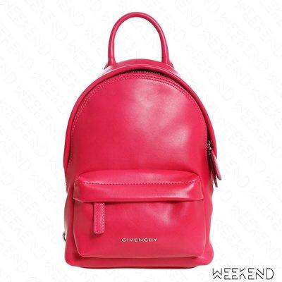 【WEEKEND】 GIVENCHY Nano Logo 皮革 可拆式背帶 手拿 後背包 桃紅色 18春夏新款