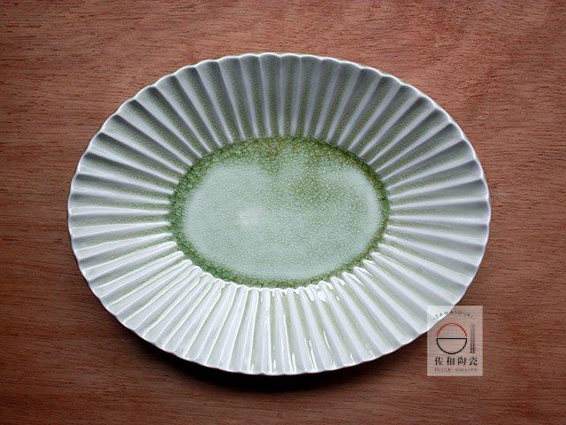 +佐和陶瓷餐具批發+【XL070913-19綠釉刻十草10長皿-日本製】日本製 長皿 盤 青菜盤 主食盤 宴客盤 餐具