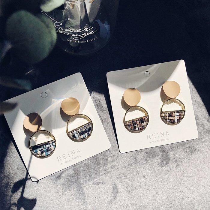 FEI日韓代購~韓國東大門耳環女秋冬季氣質簡約 半圓環格子布藝925銀針復古耳釘