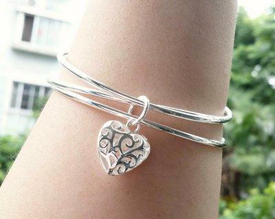 嗨,寶貝銀飾珠寶* 925純銀☆990純銀 時尚 造型 個性 鏤空心形吊墜三環 實心純銀手環 手鐲