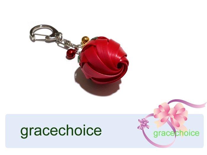 風姿綽約--含苞玫瑰鑰匙圈(D015)~ 珍珠帶編織~贈送外國朋友的好禮