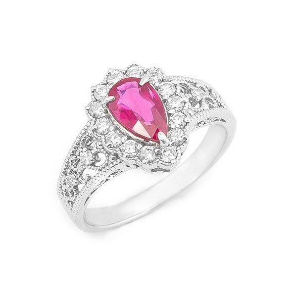 【JHT 金宏總珠寶/GIA鑽石專賣】1.03ct天然紅寶鑽戒/材質:PT900(JB22-AR03)