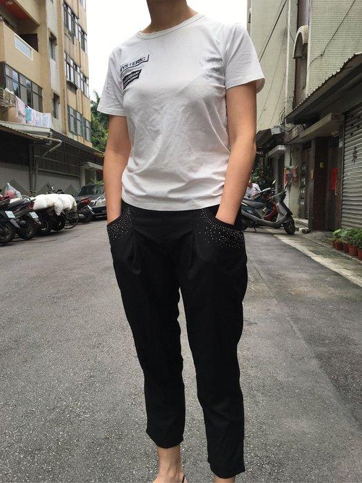 二手口袋水鑽黑色七分褲