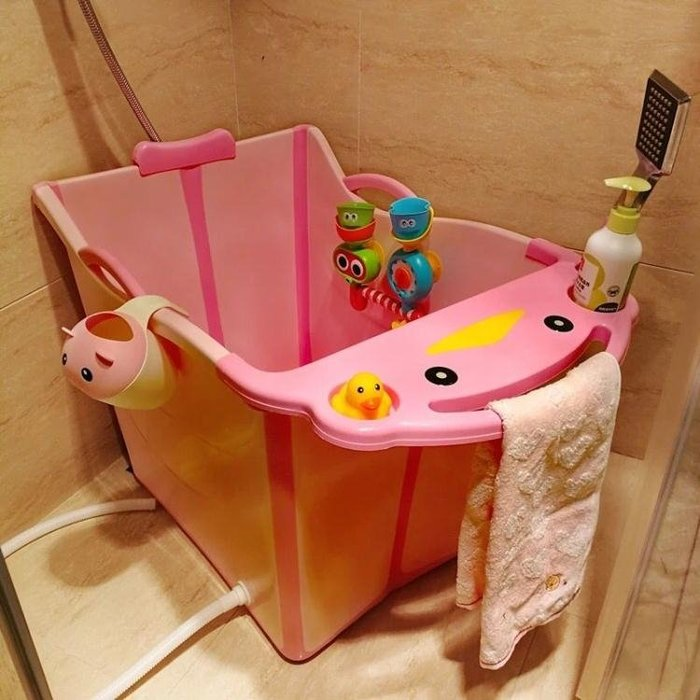 可摺疊嬰兒浴盆 加大號兒童洗澡桶小孩可坐寶寶浴桶泡澡桶  NMS