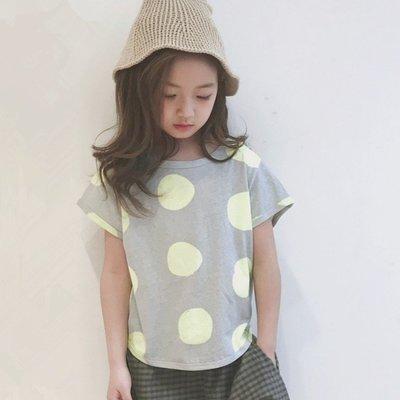 【小阿霏】兒童夏季上衣 男孩女孩寬鬆螢光綠圓點T恤 中大童中性舒適薄款好搭時尚短T CL129