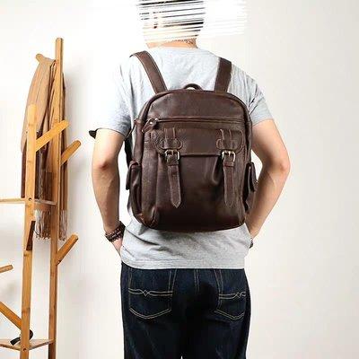 ~皮皮創~原創設計手作包。英倫風簡約復古頭層牛皮後背包中性款男女適用大容量真皮手提包肩背包騎行包通勤電腦包雙肩後背包
