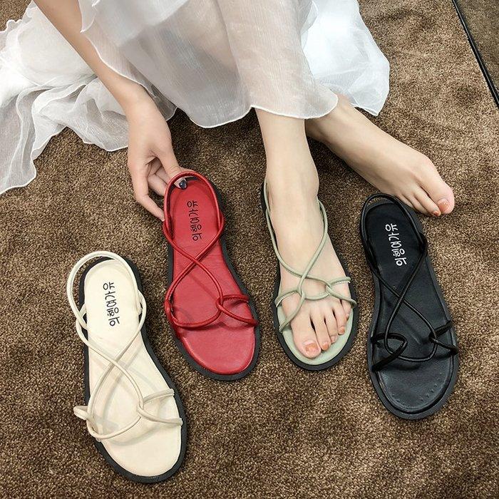 涼鞋 仙女風涼鞋女夏2019新款韓版平底露趾學生百搭海邊度假沙灘羅馬鞋