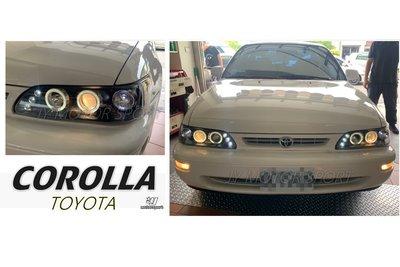小傑車燈--全新 COROLLA 93 94 95 96 97 一体成形 燈眉版 黑框 光圈 魚眼 大燈 頭燈