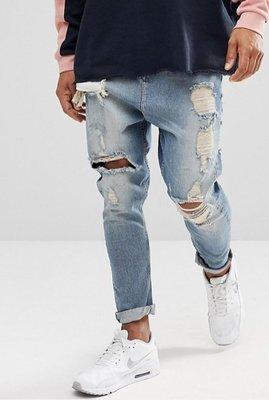 ◎美國代買◎ASOS褲管刷破刷色反摺褲口仿舊頹廢風微寛鬆牛仔褲~歐美街風~大尺碼