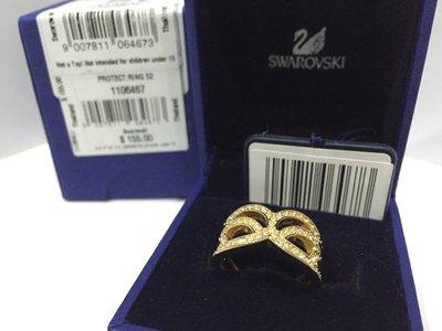 全新未用 SWAROVSKI 施華洛世奇 金色 晶鑽 水晶戒指 奢華風