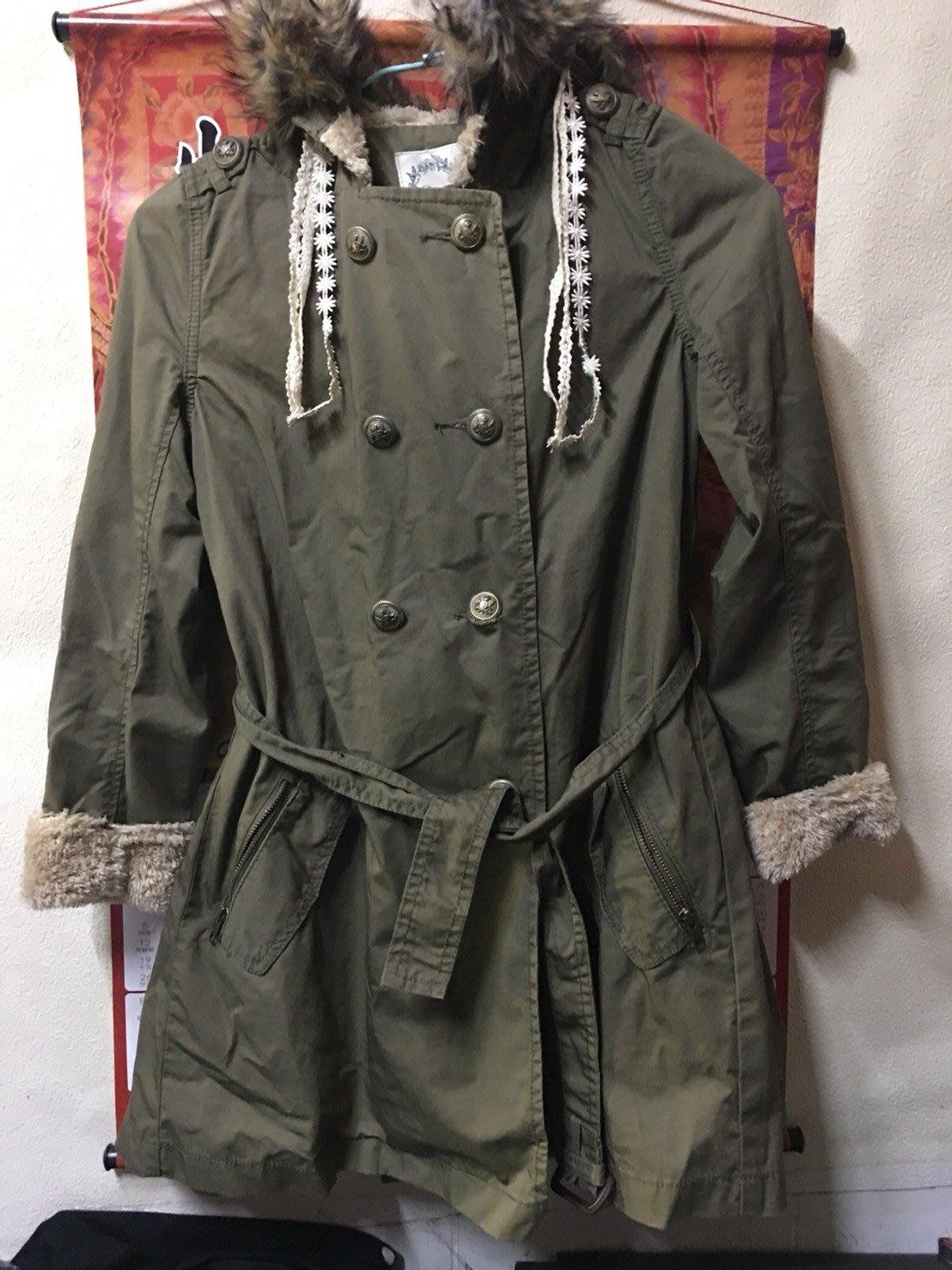 salad 女長版軍裝外套 內鋪棉可拆  s號     肩36胸46長78 八九成新