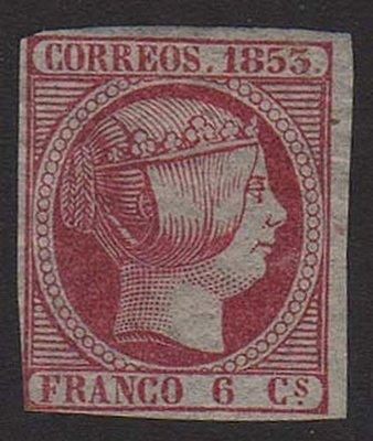 【雲品】西班牙Spain Espana 1853 Sc#19 Thin paper MVLH - scarce 庫號#67519