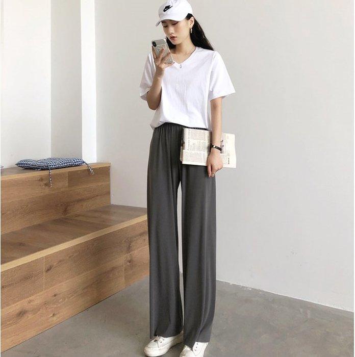 顯腿長!夏季新款寬鬆顯瘦薄款舒適直筒長褲休閒褲-五色供選 居家外出皆適穿