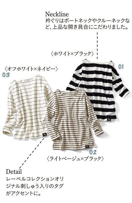 日本 iedit  「定番ボーダートップス」夏裝 經典條紋絲棉薄款T恤 (現貨款特價)