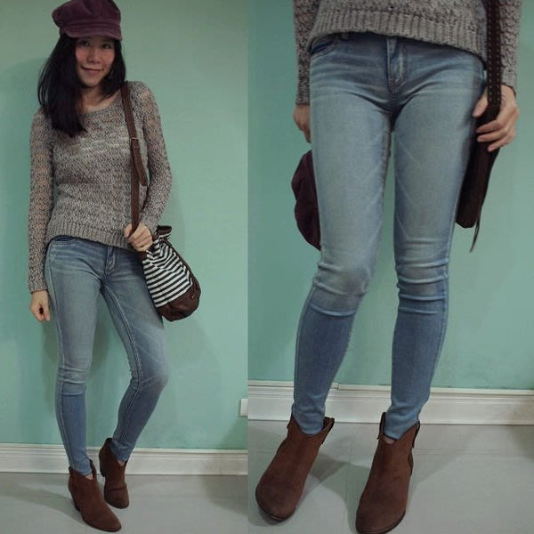 MISHIANA美國品牌 American Eagle 女生款JEGGING 藍色刷舊修身牛仔長褲5(新款上市.特價出售)