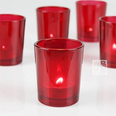 熱銷#燭光晚餐燭臺現代簡約紅色直杯玻璃小蠟燭臺酒吧婚慶派對情人節#燭臺#裝飾