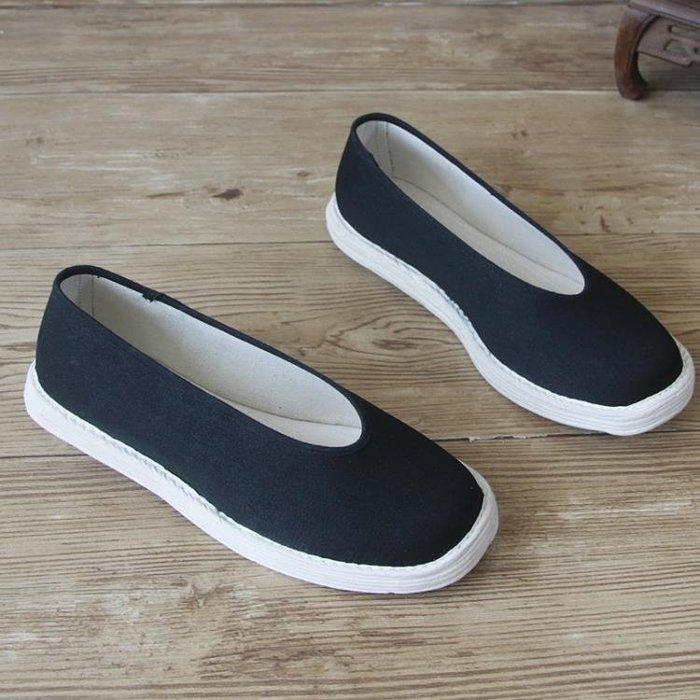 布鞋男千層底手工軟底春季男女款功夫鞋老頭鞋黑色圓口布鞋SMB25148
