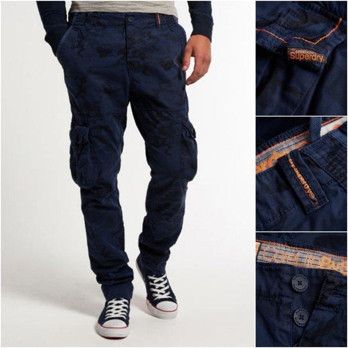 極度乾燥 Superdry Slim Core Cargo Pants 水洗 復古 純棉 長褲 工作褲 隱形藍迷彩 現貨
