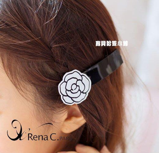BHI1628-法國品牌RenaChris 漂亮玫瑰花一字髮夾 彈簧夾【韓國製】AngelRena