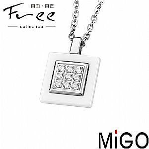 (Hueibe Shop)高質感米格Migo鋼飾自信‧白鋼項鍊SP445