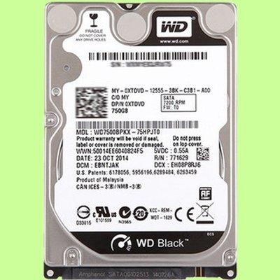 5Cgo【權宇】全新五年保 WD黑盤硬碟750G 750GB 2.5吋7200轉16M WD7500BPKX 含稅 台北市