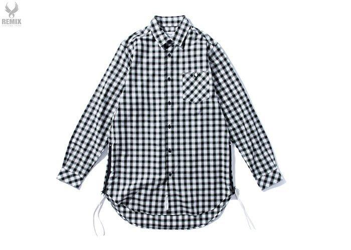 [ LAB Taipei ] Remix16'S/S SIDE ZIP CHECKER L/S SHIRT [ 黑綠 ]