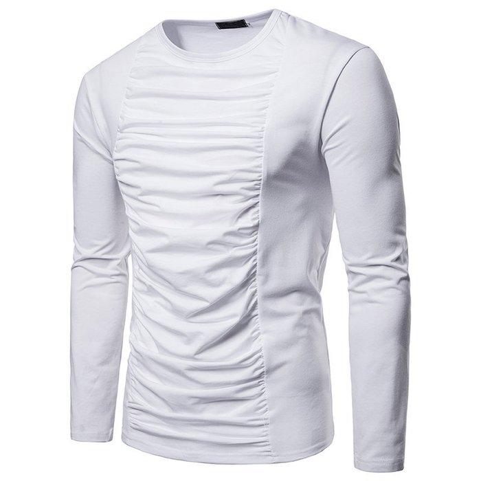 『潮范』  N4 新款時尚胸口褶皺裝飾純色大身男式翻領套頭長袖T恤 素面T恤 打底衫 棉質T恤