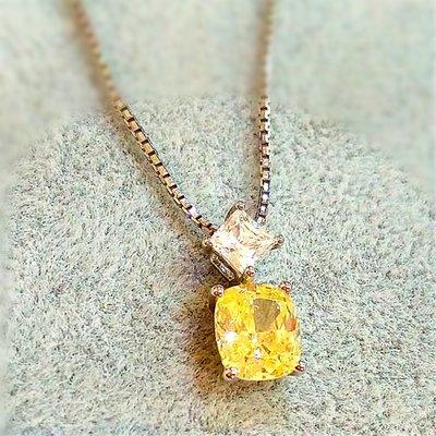 高檔純銀吊墜 2克拉高碳仿真鑽石項鏈女鑽 2克拉白色黃色可選韓版飾品 精工爪鑲單碳原子 純銀鍍鉑金  FOREVER鑽寶