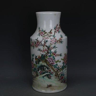 ㊣姥姥的寶藏㊣ 大清乾隆款粉彩手繪花鳥紋棒槌瓶  官窯古瓷器古玩古董收藏品