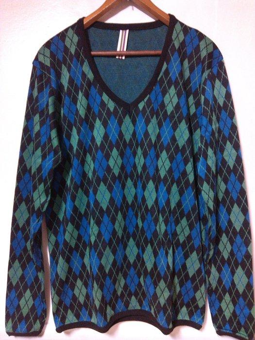 古著 Vintage 韓版 藍綠配色 菱格紋 大V領針織衫 罩衫 長袖T 多層次搭配 英倫雅痞 G-Dragon 權志龍