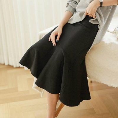 Bellee  正韓 腰圍鬆緊彈性棉質前短後長魚尾裙     (2色)  【F19252】