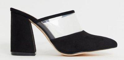 英國倫敦流行時尚鞋履品牌 黑色麂皮質感X透明PVC粗跟高跟穆勒鞋 heeled clear mules 全新現貨UK5號