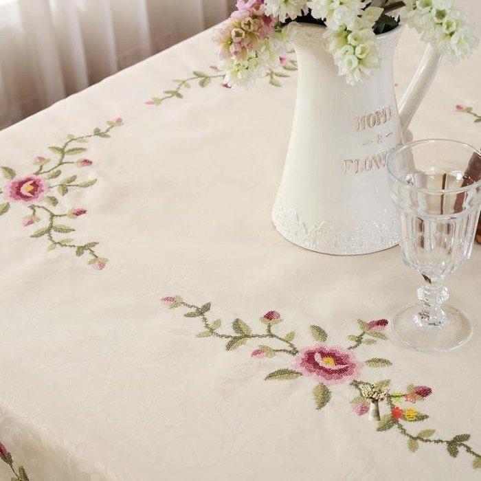 麥麥部落 桌巾十字繡花蕾絲餐桌布布藝茶幾巾田園桌布桌墊多用蓋巾MB9D8