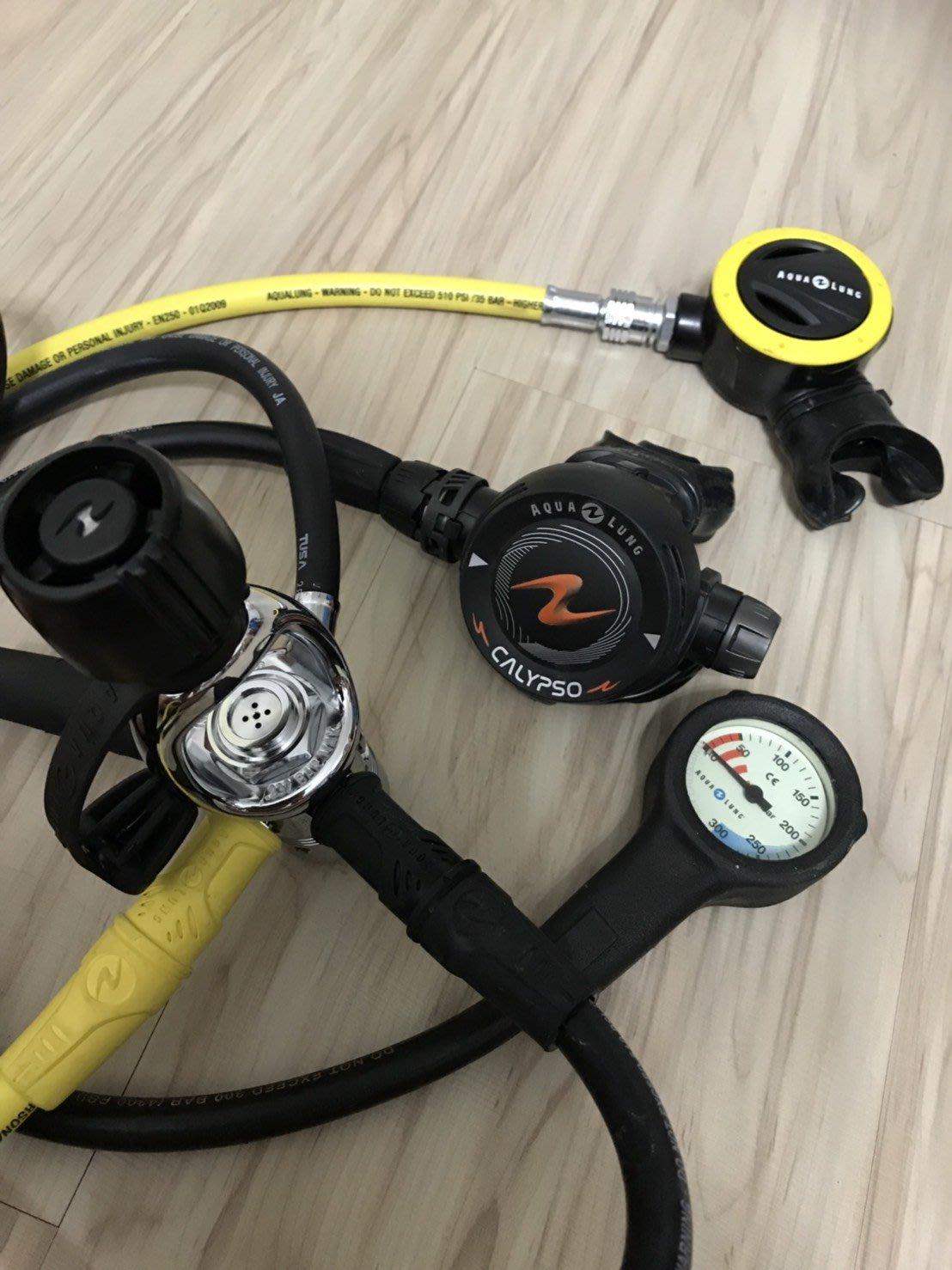 AQUALUNG CALYPSO 水精靈 調節器組 AQUA LUNG 殘壓單錶 近全新 潛水調節器 一年保固