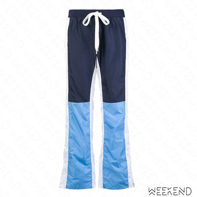 【WEEKEND】 EACH X OTHER 拼接 側邊拉鍊 鬆緊褲頭 休閒 運動 長褲 藍色 18秋冬