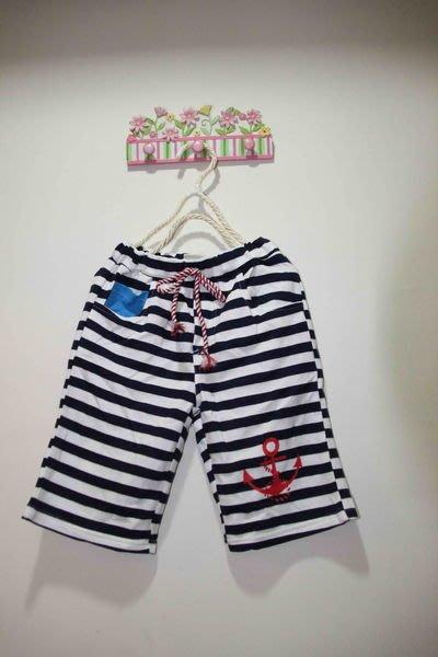 韓版藍白條紋海洋休閒風棉褲
