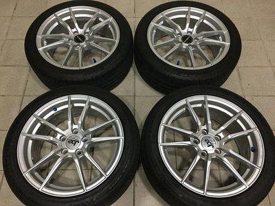 亮銀 多爪放射狀 5孔100 16吋鋁圈含輪胎 豐田 SIENTA A秀 PREMIO 福斯POLO