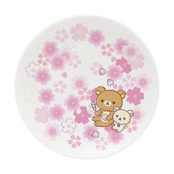 日本製SAN-X 限定拉拉熊/牛奶妹櫻花陶瓷小盤碟子--秘密花園