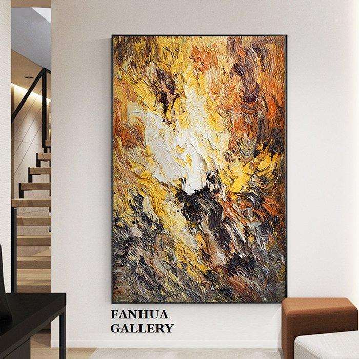 C - R - A - Z - Y - T - O - W - N 純手繪油畫立體筆觸重色彩抽象厚肌理抽象巨幅油畫掛畫住宅高級別墅設計師款立體抽象油畫收藏品畫