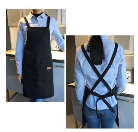 帆布圍裙防水奶茶咖啡店餐廳美甲包郵韓版時尚男女工作服 一件免運