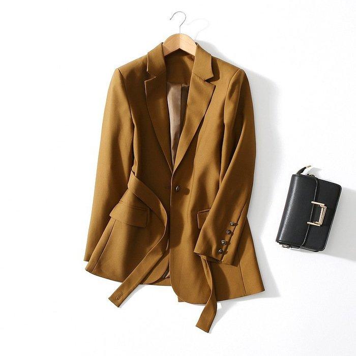 早秋新款 英倫風設計感收腰綁帶不規則休閒西裝外套 小西外 [Classique*真經典] 091104