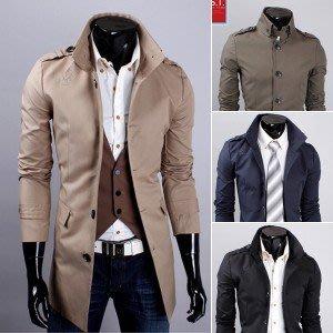 yes99buy加盟-2013秋冬新品男款外套 男式戶外休閒純色風衣 男士修身時尚風衣