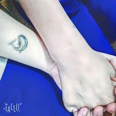 【萌古屋】Y系列藍色鯨魚 - 男女防水紋身貼紙刺青貼紙K13