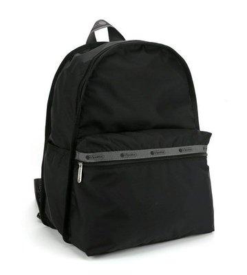 【Lydia代購】 Lesportsac 黑底拼灰 刺繡背帶 降落傘防水包 雙肩後背包 7812 限量款 後背包