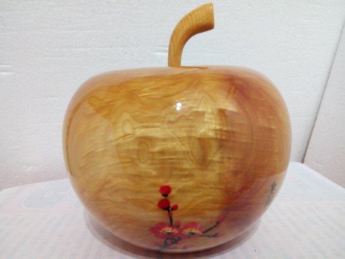 【九龍藝品】台灣黃檜木 蘋果聚寶盆 閃花.山材.寬約15公分