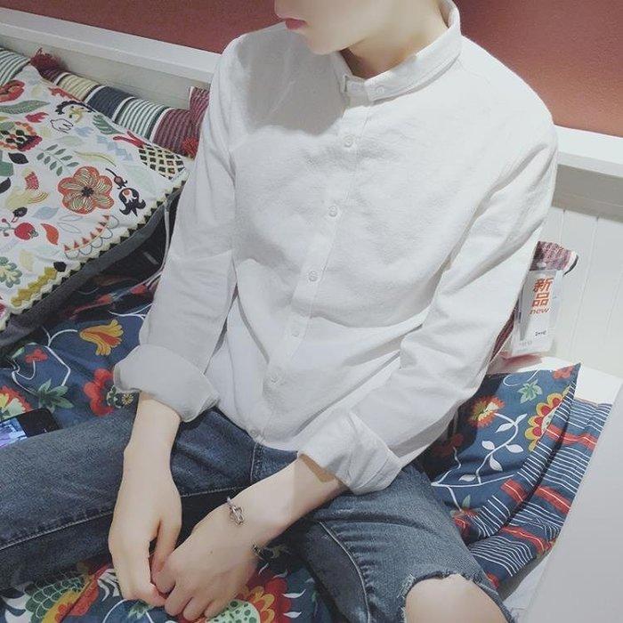 白襯衫男長袖韓版修身小領白色襯衣chic純棉寸衫亞麻休閒潮流