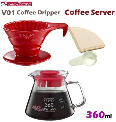 【ROSE 玫瑰咖啡館】Tiamo V01陶瓷咖啡濾器組長柄款-紅色+玻璃壺360cc-紅色