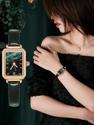 Louis手錶代購現貨Linger手錶女簡約氣質輕奢小眾品牌法國復古小綠錶ins風女士手錶
