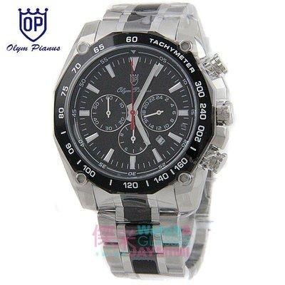 【JAYMIMI傑米】奧林比亞 OP 愛其華  全新原廠公司貨 粗曠三眼計時運動手腕錶黑錶框